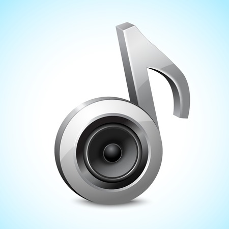 Audio speaker subwoofer system in note sign music concept isolated on white background vector illustration