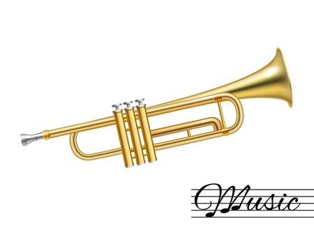 fanfare: Golden music trumpet isolated on white background vector illustration