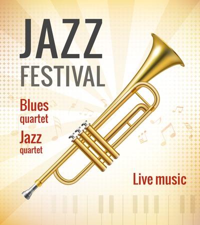 fanfare: Jazz festival music concert poster with golden trumpet vector illustration Illustration