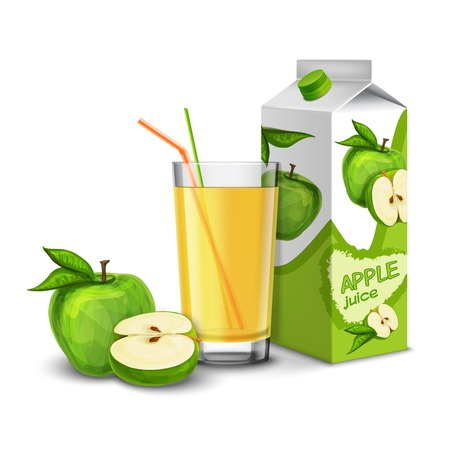 Realistic apple juice glass with cocktail straw and paper pack isolated on white background vector illustration Vector