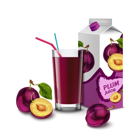 coctail: Realistic plum juice glass with cocktail straw and paper pack isolated on white background vector illustration