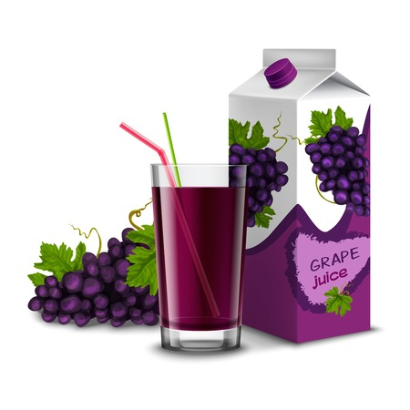 grape juice: Realistic juice glass with cocktail straw grape branch and pack isolated on white background vector illustration Illustration