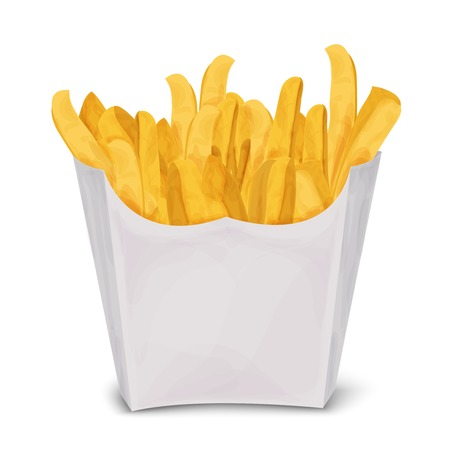 Fast junk food french fries in paper pack isolated on white background vector illustration.