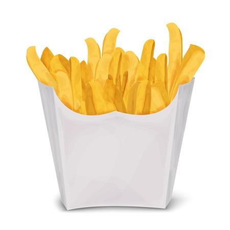 Fast food spazzatura patatine fritte in carta pacchetto isolato su sfondo bianco illustrazione vettoriale. Vettoriali