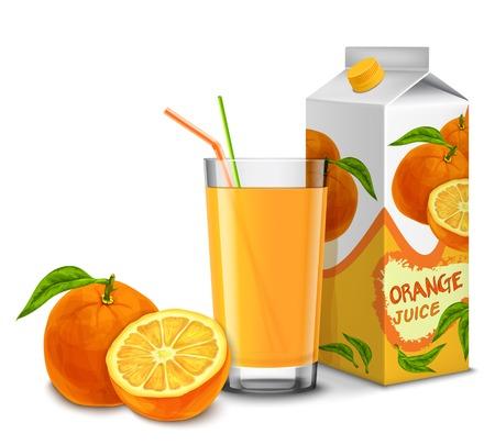 orange juice glass: Realistico bicchiere di succo d'arancia con cocktail di paglia e carta pacchetto isolato su sfondo bianco illustrazione vettoriale