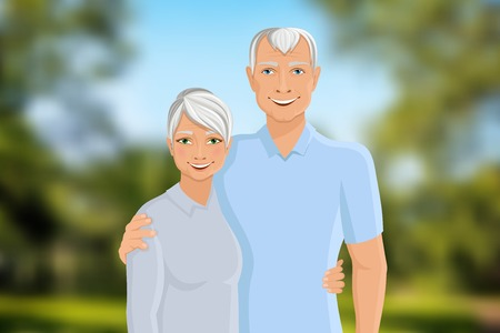 Old senior people family couple half-length portrait on outdoor background vector illustration. Vector