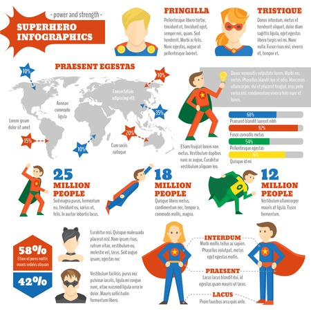 super man: hero infographics with avatars in costumes and world map vector illustration