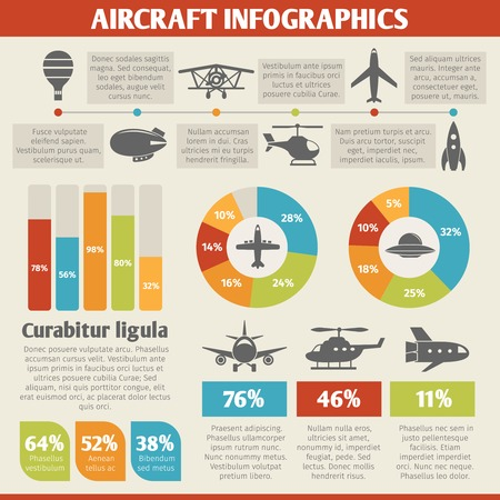 jet fighter: Aircraft military and passenger aviation air tourism infographic vector illustration Illustration