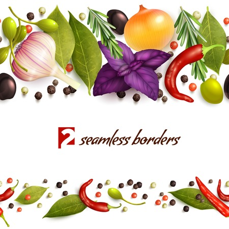 Realistic herbs and spices decorative seamless pattern borders vector illustration 일러스트
