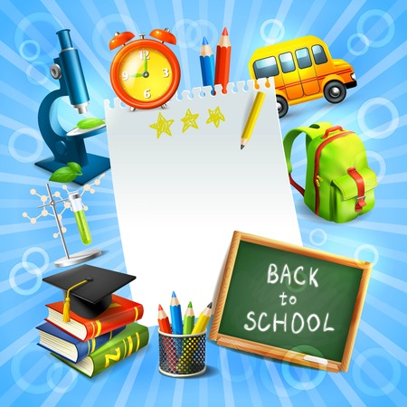 Realistic back to school concept template with education icons vector illustration Vector