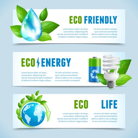 Ecology and green energy eco friendly life concept horizontal banners isolated vector illustration Vector