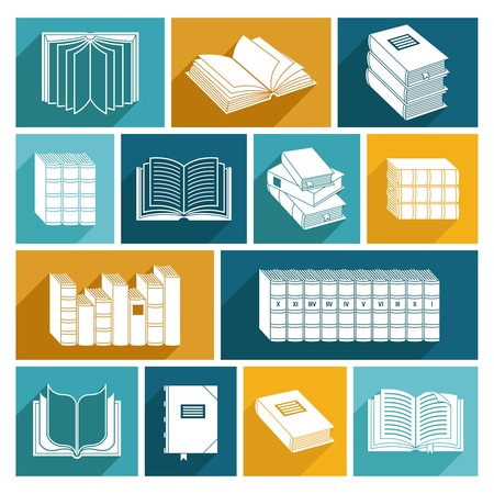 collected: Open and closed book collected works decorative icons flat set isolated vector illustration. Illustration