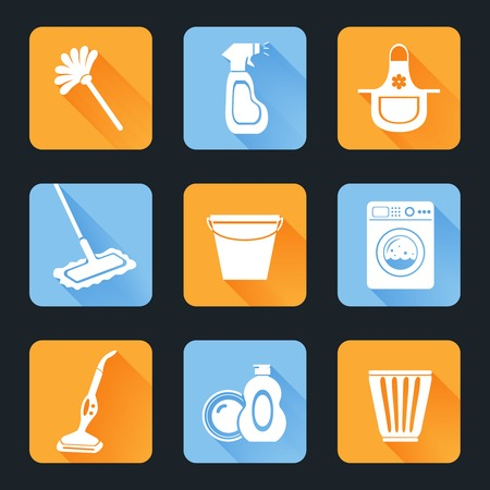cleaning equipment: Cleaning washing housework equipment icons flat set isolated vector illustration Illustration