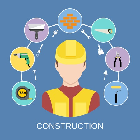 Engineer silhouette avatar and builder and construction industry instrument assortment icons set vector illustration