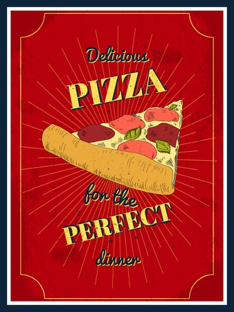 Pizza vintage retro sketch style poster in red color for restaurant vector illustration Vector
