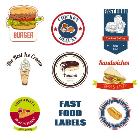 Decorative fast food restaurants and speed service shops takeaway chicken pizza hotdog labels collection  isolated vector illustration Vector