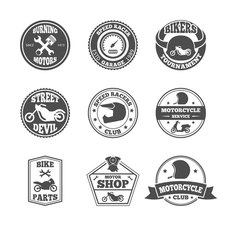 Speed race bikers garage repair service emblems and motorcycling clubs tournament labels collection isolated vector illustration