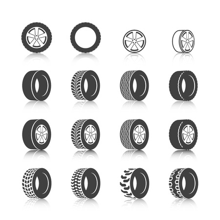 tyre tread: Auto service shop wheels disks and tires construction check montage replacement black  icons set isolated vector illustration