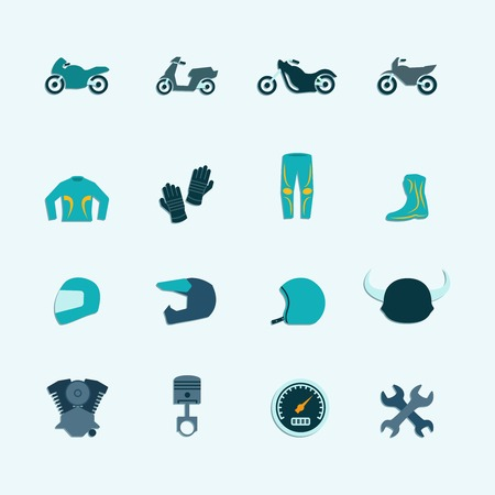Biker street riding style accessories selection flat icons set with helmet jacket boots accessories isolated vector illustration Illustration