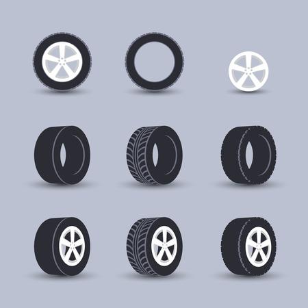 설치: 자동 차고 바퀴 디스크 몽타주 및 설치 겨울 타이어 교체 서비스 검은 아이콘 절연 벡터 일러스트 레이 션을 설정
