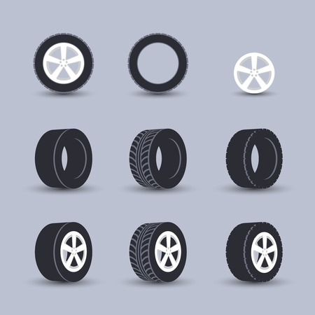 tire shop: Auto garage wheels disk montage and installation winter tires replacement service black  icons set isolated vector illustration Illustration