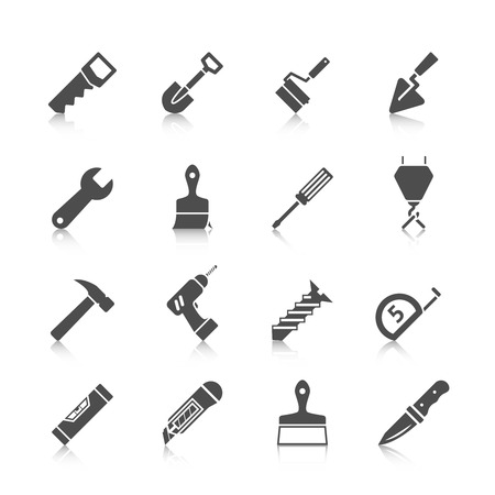 Home repair tools graphic icons set with hammer saw screwdriver spade and drill black vector isolated illustration