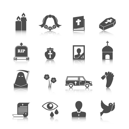 death symbol: Funeral mortuary service ritual hearse van with flowers wreath bible black casket icons set vector isolated illustration