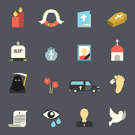 mourn: Death and mourning for deceased ritual church funeral ceremony tombstone candles flat icons set vector isolated illustration