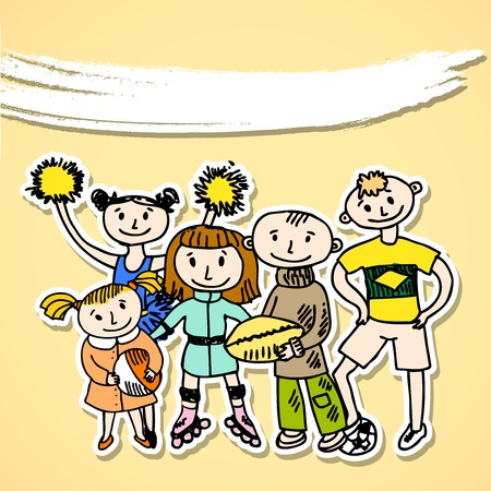 kids football: Sport playing carton kids in doodles hand drawn with banner style vector illustration