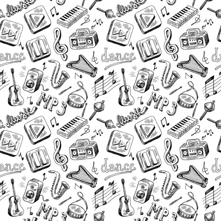 Music mp3 doodles icons seamless pattern in gray color vector illustration Vector