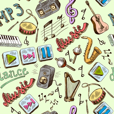 Music mp3 doodles seamless pattern with piano play pause color icons vector illustration Vector