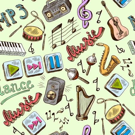 Muziek mp3 doodles naadloze patroon met piano spelen pauze kleuren iconen vector illustratie Stock Illustratie