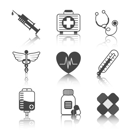 accident rate: Ambulatory healthcare medical pharmaceutical icons set with heart stethoscope asclepius emblem abstract black isolated vector illustration