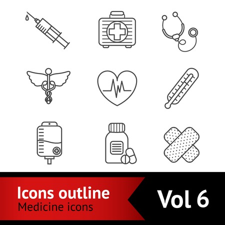 therapeutic: First aid bandage kit medical assistance symbols and therapeutic drugs pills outline pictograms collection isolated vector illustration