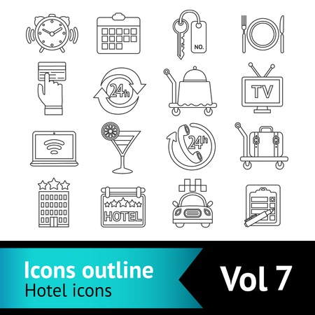 Hotel travel bed  outline icons set of cocktail bar restaurant service and taxi parking isolated vector illustration Vector