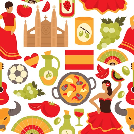 Spain culture flamenco dance bullfight vine tapas symbols seamless decorative souvenir wrap paper pattern abstract vector illustration Vector
