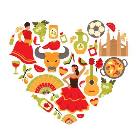 Decorativo espanha tradições culturais flamenco dança comida uva videira emblemas coração forma impressão cartaz ilustração abstrata do vetor