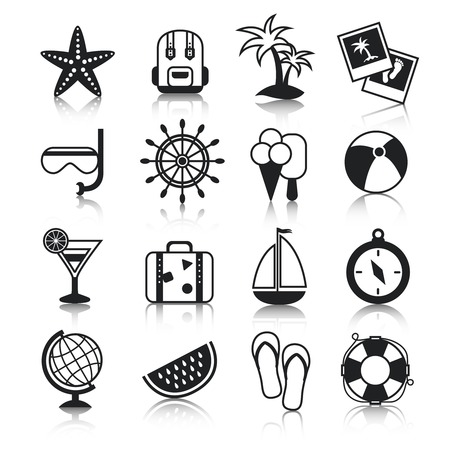 Summer holiday vacation travel agency palm cocktail snorkel mask suitcase baggage pictograms collection black vector isolated illustration Vector