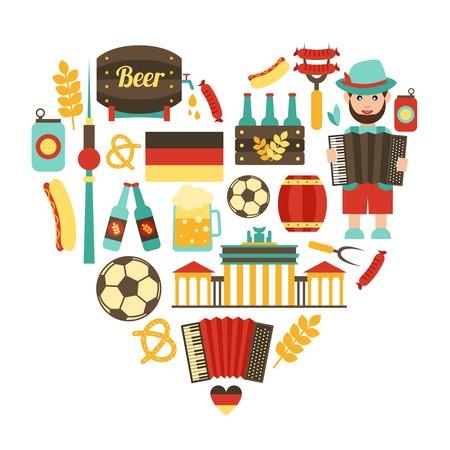 Alemania viajes Alimentación y atracciones iconos tradicionales concepto corazón puesto ilustración vectorial
