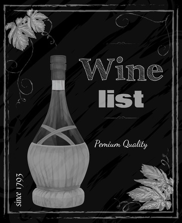 Vintage restaurant premium quality chalkboard wine list card menu template vector illustration. Vector