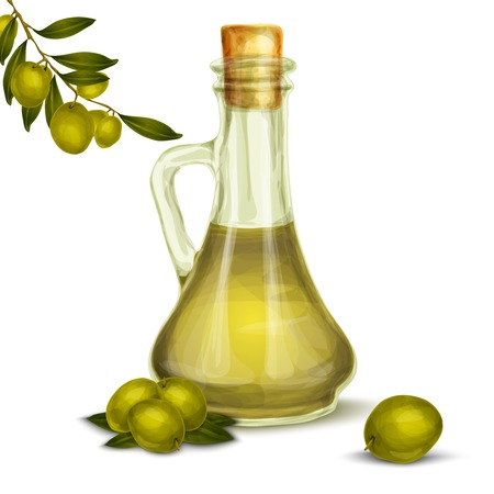 Organic natural food olive oil in glass bottle with tree branch poster vector illustration Vector
