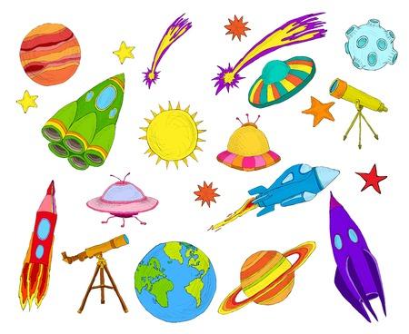 Ruimte en astronomie decoratieve elementen gekleurd geïsoleerd sketch set vector illustratie. Stock Illustratie