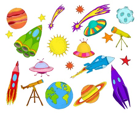 Space and astronomy decorative elements colored sketch set isolated vector illustration. Illustration