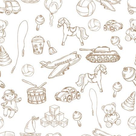 teddybear: Vintage kids toys sketch seamless pattern with blocks balloon jumping rope vector illustration. Illustration