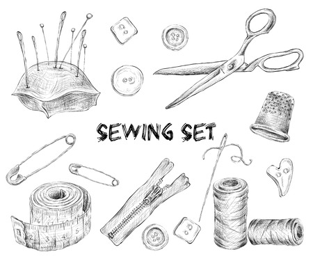 Sewing sketch set with tailor tools needlework and embroidery accessories isolated vector illustration. Ilustração