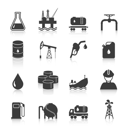 gas can: Oil industry gasoline processing symbols icons set with tanker truck petroleum can and pump isolated vector illustration