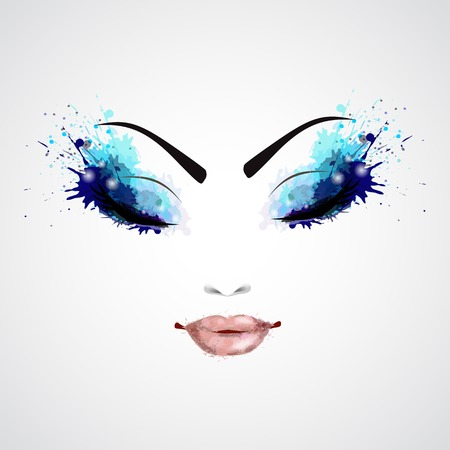 Fashion abstract woman grunge face with blue make-up vector illustration Illustration