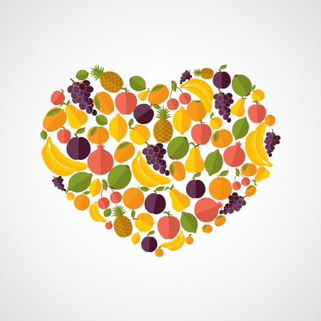 healthy food heart composition flat style icons background vector illustration Vector
