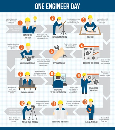 One engineer worker manufacturing construction day infographic design with arrows vector illustration Vector