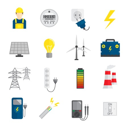 voltmeter: Set of electricity energy accumulator icons in flat style vector illustration Illustration